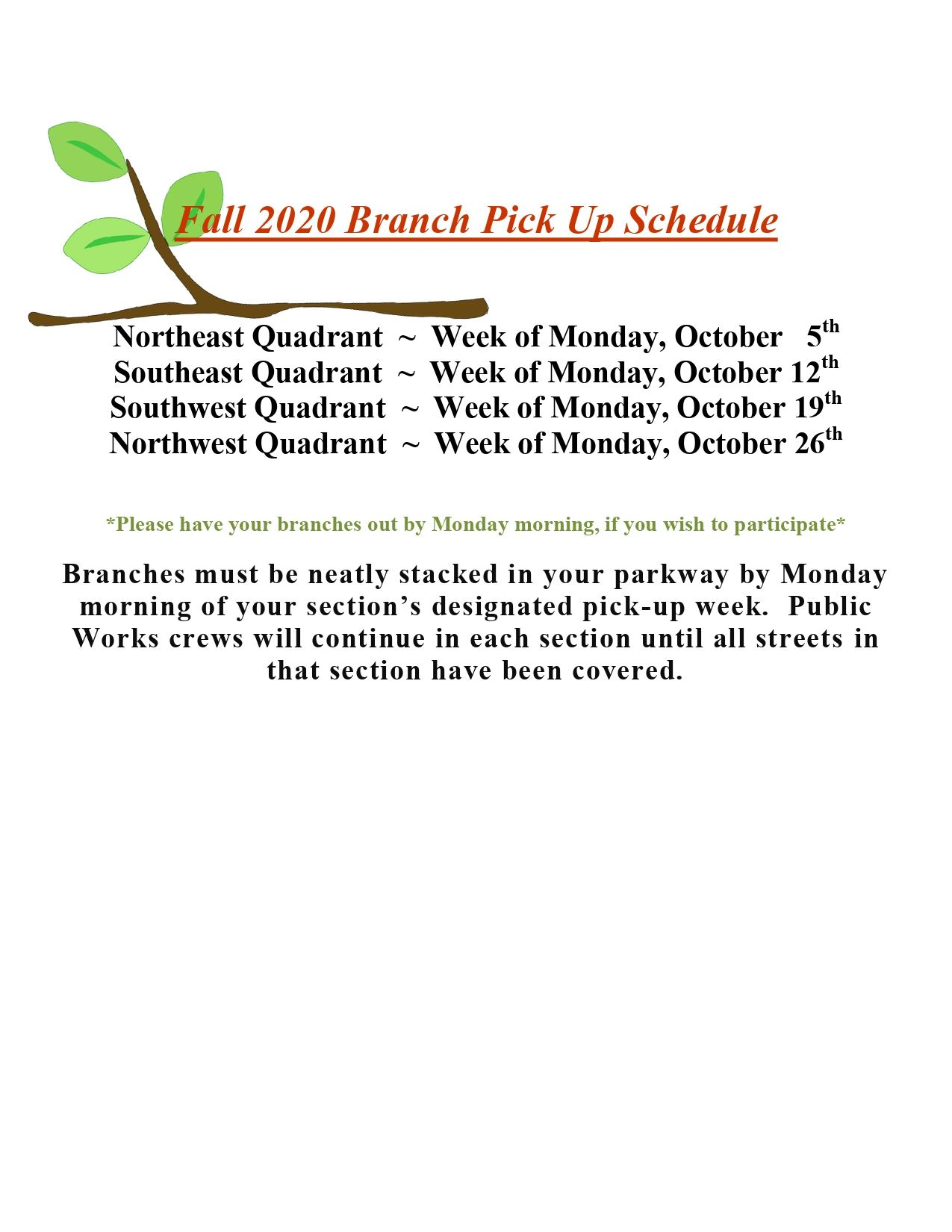 Fall 2020 Branch Pick Up Schedule